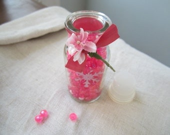 Vintage Spice Jar of  Pearls and Beads - Pink Mix