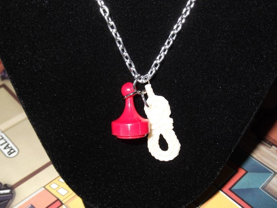 Clue Game Necklace Murder Mystery Scenario Pendant Miss Scarlet with the Rope in the Kitchen