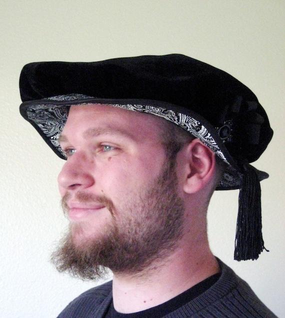 Renaissance Cap - Black and Silver - Renaissance Costume Hat - For Men or Women