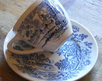 Vintage Enoch Wedgwood Tea Cup and Small Plate Countryside pattern