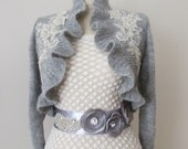 Bridal Ruffle Bolero Jacket Wedding Shrug Shawl Wrap Wool Mohair Knitted Capelet  3/4 sleeve Grey Gray with Beaded Lace