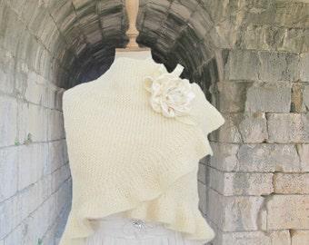 Knitting Ivory Bridal Shawl Wedding Mohair Ruffle Wrap Plus Size Shrug Hand Knitted  with organza brooch