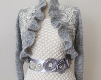 Bridal Ruffle Bolero Jacket Wedding Shrug Shawl Wrap Wool Mohair Knitted Capelet  3/4 sleeve Grey Gray with Beaded Lace
