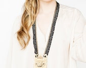 Lace and wood necklace - Barong - Black lace with bronze chain & hand carved exotic Balinese wood