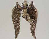 Vintage Pendant - Angel Pendant - Vintage Brass Stamping - Large for Necklace - handmade pendant