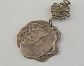 Vintage Pendant  - Art Nouveau Pendant - Brass Pendant - DIY Necklace - Handmade
