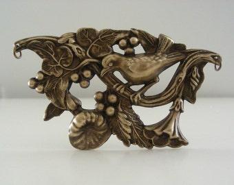 Vintage Pendant - Vintage Brass Stamping - Large Pendant - Bird Pendant - Statement Pendant - DIY Necklace - Myshangrila