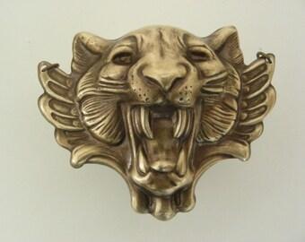 Pendant ROARING Lion Tiger - Vintage  Brass Stamping -  LEO Pendant Large for Necklace