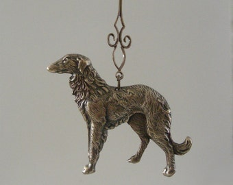 Dog Pendant - Borzoi Afgan Deerhound DOG - Vintage Brass Pendant - For Necklace - Handmade