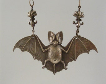Vintage Pendant - Bat Pendant - Vintage Brass  jewelry - Large for Necklace - Brass Stamping - handmade jewlry