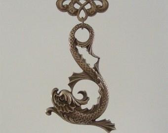 Vintage Pendant - Dragon Pendant - Brass Pendant - Victorian Pendant - SEA Serpent DRAGON - Fantasy Jewelry - handmade jewelry