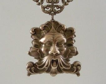 Vintage Pendant - Brass Pendant - Celtic Pendant - Green Man - Merlin Necklace - DIY Necklace - Stamping