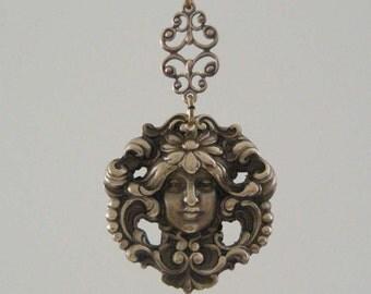 Vintage Pendant - ART NOUVEAU Pendant - Brass Pendant - DIY Jewelry