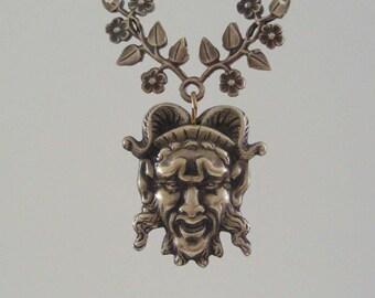Vintage Pendant - Devil Pan - Green Man - Vintage Brass Stamping - Large for Necklace - Handmade