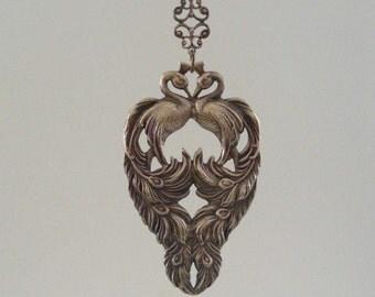 Vintage Pendant - Peacock Pendant - Art Nouveau Pendant - Vintage Brass - Large for Necklace - Statement Necklace - handmade jewelry