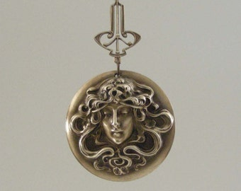 ART NOUVEAU Pendant - DIY Necklace - Vintage Brass-  Large for Necklace - Stamping - Handmade Jewelry