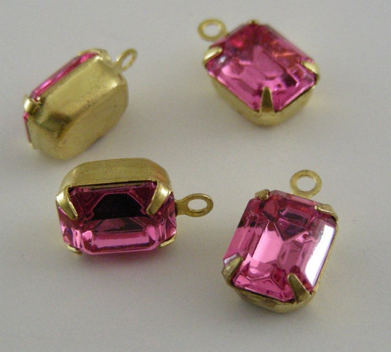 Vintage Rhinestone Drops - Earring findings - Pink Rhinestones - 10X8mm - 1 Pair