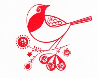 Robin - Hand Pulled, Signed, Gocco Screenprint
