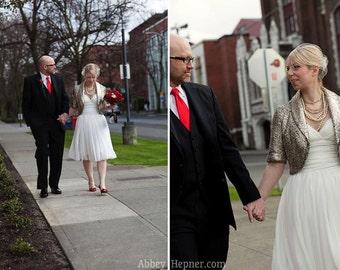 Short Chiffon Flowy Draped Wedding Dress