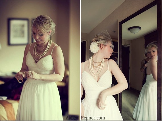 Short Chiffon Flowy Draped Wedding Dress