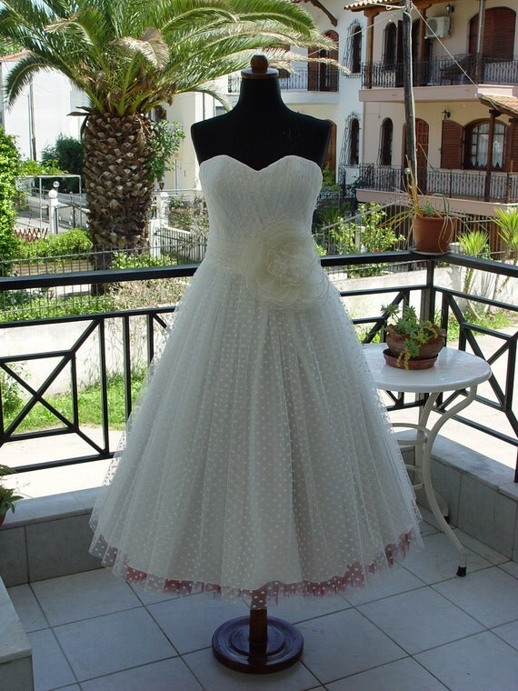 Polka dot tea length wedding dress by ateliertami on etsy for Etsy tea length wedding dress