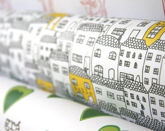 Little Houses Wrapping Paper-Baile-Irish Word for Home- 140gsm Quality Gift Wrap - Made in Ireland