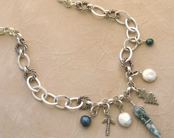 Silver Chain and Freshwater Pearl Necklace - Ghost Tribe