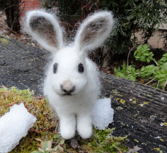Items Similar To Felted White Bunny Baby Snowshoe Hare On