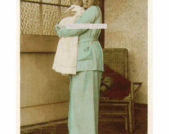 Gladys and Her Baby Boy John - Full View - HAND TINTED Real Photo Vintage Postcard - UNUSED