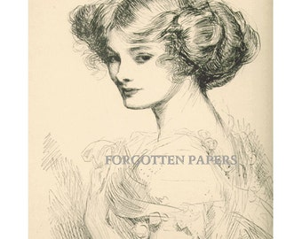 Gibson Girl - Rare Signed 1909 Uncirculated Artist Proof - Print  -  Wild Civility - No. 8