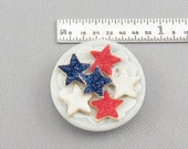 Dollhouse Miniature 4th of July Star Sugar Cookies on Plate