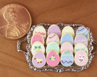 Dollhouse Miniature 16 Easter Cookies on Metal Tray
