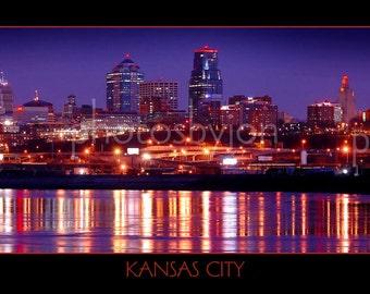 Kansas City Skyline at NIGHT - 12 x 36 Panoramic Print - Panorama Photo Poster