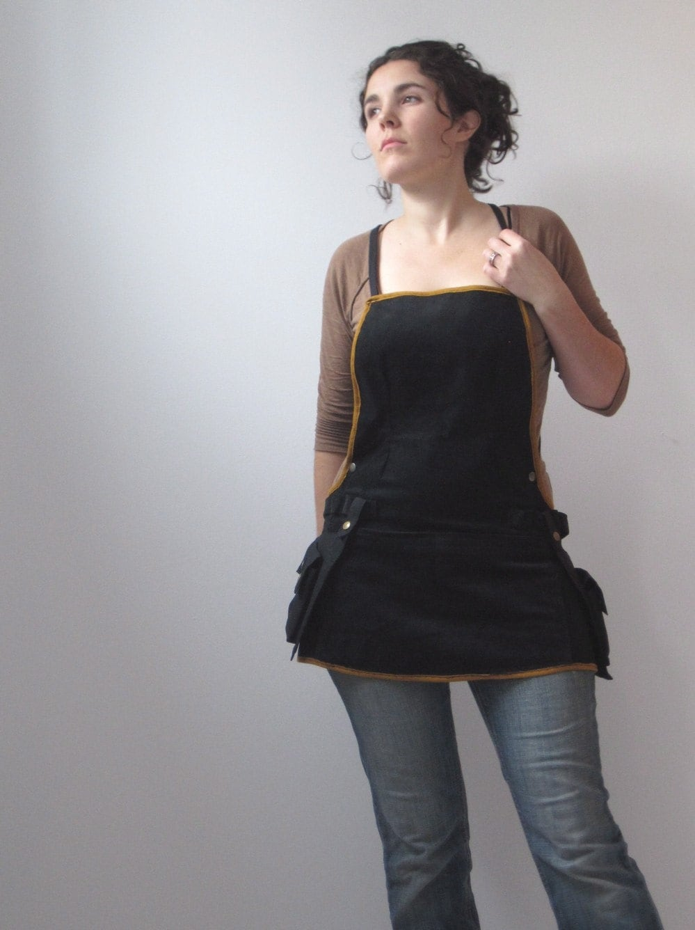 Reserved For Toni Woman At Work Apron Black And Brass