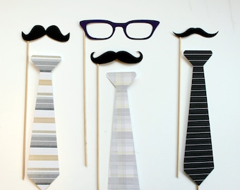 Photobooth Props on a Stick - Tie one One - Mens Neck tie, Mustache, Glasses on a Stick