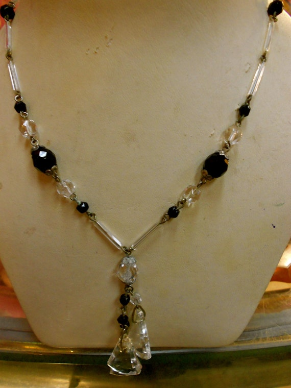 """1930's, 16"""", Art Deco, black and clear glass necklace"""