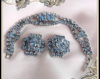 1960s Vintage Rhinestone Bracelet and Matching Earrings Blue Wedding
