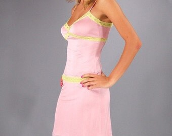 100% Silk Cami, Thong and Slip 3pc set - Pink with green lace