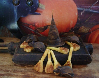 Primitive Halloween Melts, Primitive Halloween Candle, Blackened Beeswax, Scented Beeswax Rats Scented Wax Melts Scented Wax Tarts Witch Hat
