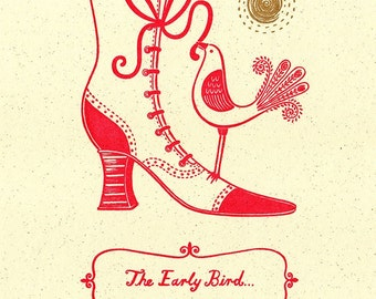 The Early Bird Edwardian Boot Cockerel Limited Edition Gocco Screen print Kitchen Decor
