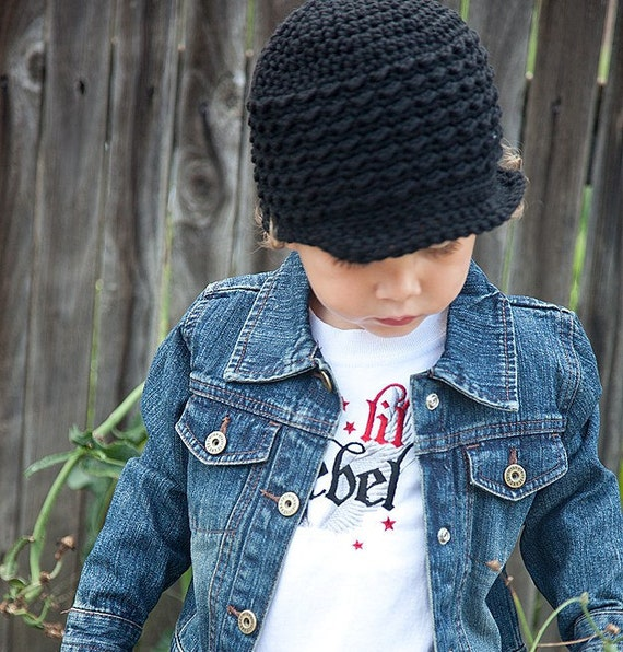 Crochet Newsboy Hat, Toddler Boy, Black Beanie, Soft-Brimmed Visor, MADE TO ORDER, Children Clothing
