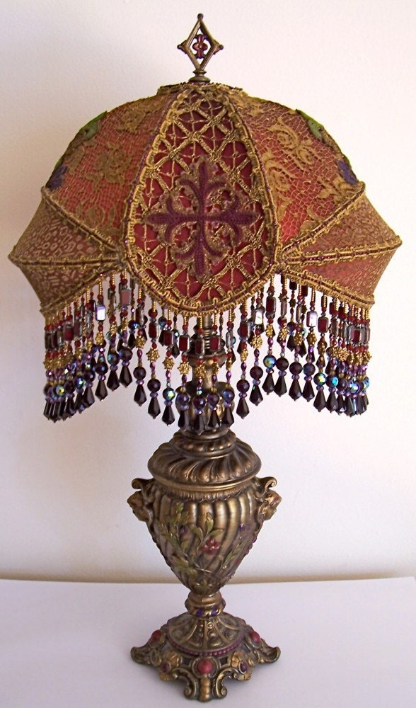 Sold 2nd payment amanda lay away antique vintage gothic beaded for Purple beaded lamp shade