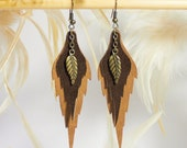 Woodland leave - dangle  leather earrings.