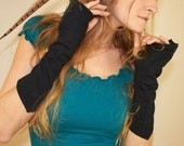 Miteneja - black cotton fingerless mitts with leather art appliques.
