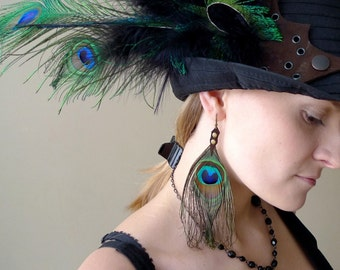 Peacock - dangle earrings with natural peacock feathers and leather