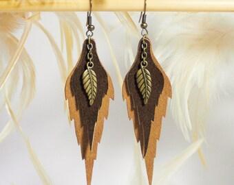 Woodland leaf - dangle  leather earrings.