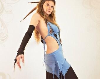 OOAK - Myrine - Halter mini dress with leather art appliques and handmade beaded neckless.