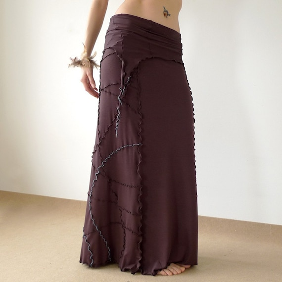 Wilma - long one shoulder jersey dress / skirt with freehand serging, dark brown or pick your color.