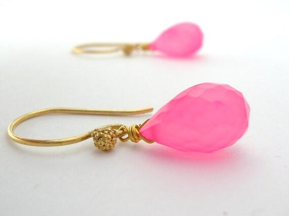 Watermelon Pink Chalcedony Earrings handmade gold vermeil jewelry spring fashion