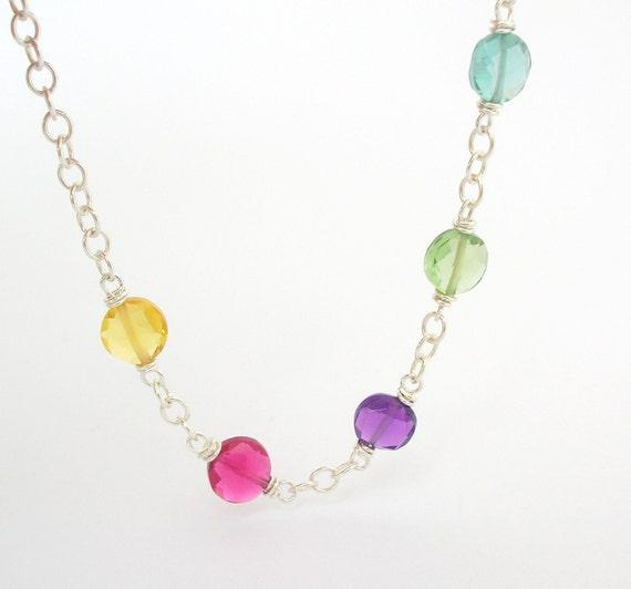 20% off Rainbow Coin Bracelet polka dot Delicate Jewelry wire wrap sterling silver jewellery